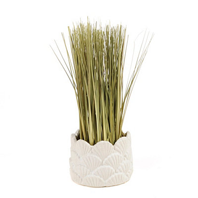 Grass Arrangement in White Seashell Pot