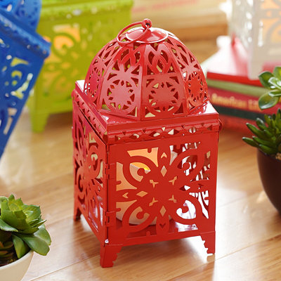 Red Bright Metal Lantern with LED Candle