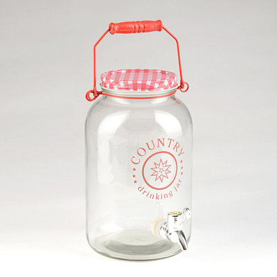 Red Gingham Beverage Dispenser
