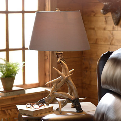 Antler Table Lamp with Suede Shade