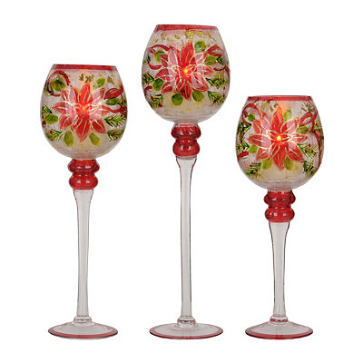 Hand-Painted Poinsettia Charisma, Set of 3