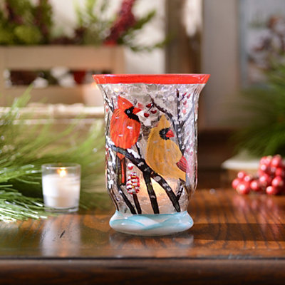 Hand-Painted Winter Cardinal Votive Holder