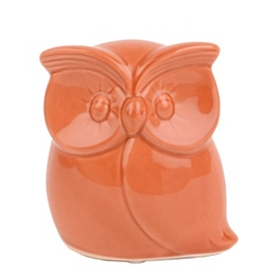 Small Orange Dolomite Owl Figurine