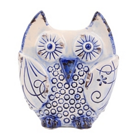 Distressed Blue & White Ceramic Owl Statue
