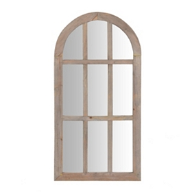 Natural Wood Arch Decorative Mirror, 14x28