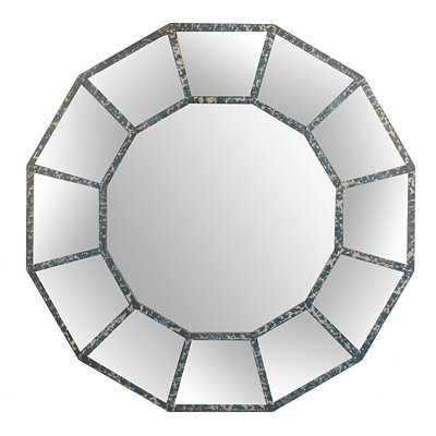 Distressed Gray Mirrored Panel Wall Mirror