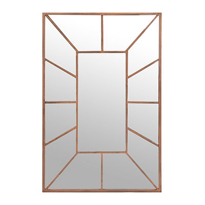 Distressed Orange Decorative Mirror