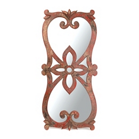 Distressed Red Floral Decorative Mirror