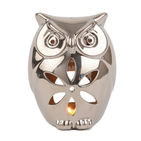 Silver Ceramic Owl Candle Holder