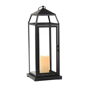 Black Metal Lantern with LED Candle, 22.5 in.