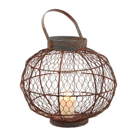 Distressed Bronze Round Wire Lantern