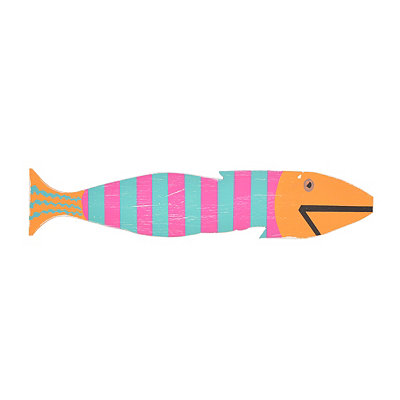Pink & Blue Striped Fish Wall Plaque