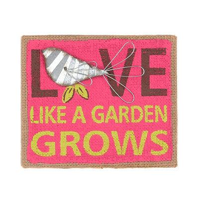 Love Like A Garden Grows Burlap Plaque
