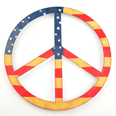American Flag Peace Sign Wall Plaque