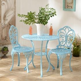 Blue Fleur-de-lis Cast Iron Bistro Set