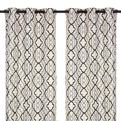 Marrakech Black and Gray Curtain Panel Set, 96 in.