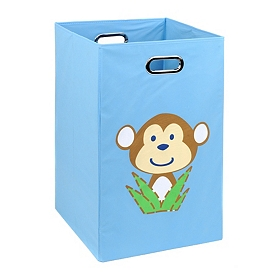 Light Blue Laundry Basket with Monkey