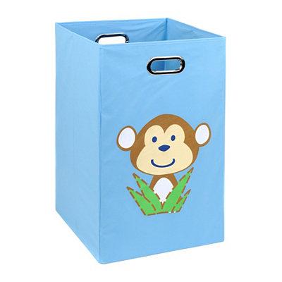 Light Blue Laundry Basket with Monkey