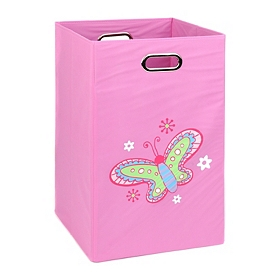 Pink Laundry Basket with Butterfly