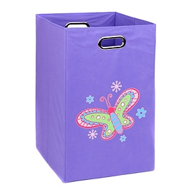Purple Laundry Basket with Butterfly
