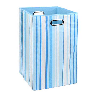 Blue Stripes Laundry Basket