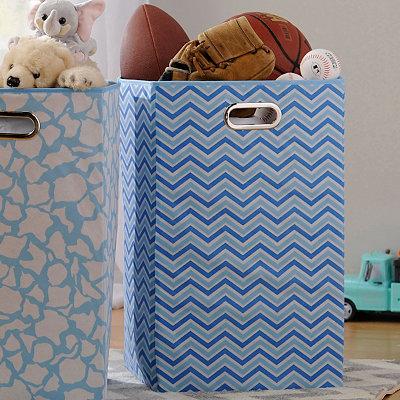 Blue Zig Zag Laundry Basket