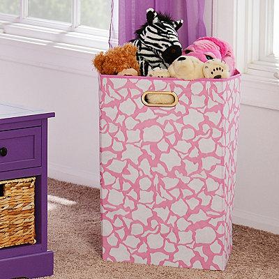 Pink Giraffe Print Laundry Basket