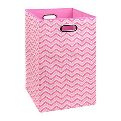 Pink Zig Zag Laundry Basket