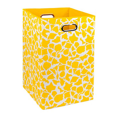 Yellow Giraffe Print Laundry Basket