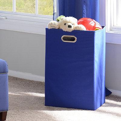 Solid Blue Laundry Basket