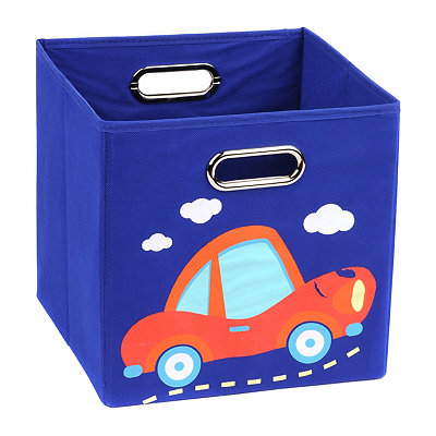 Blue Storage Bin with Car