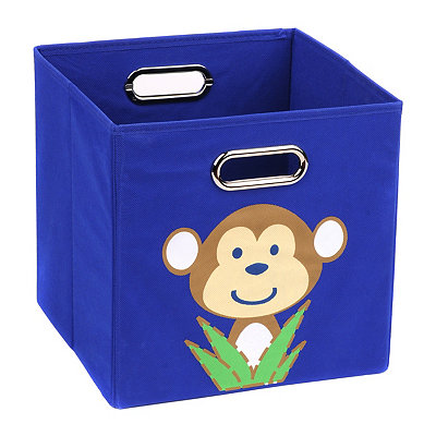 Blue Storage Bin with Monkey