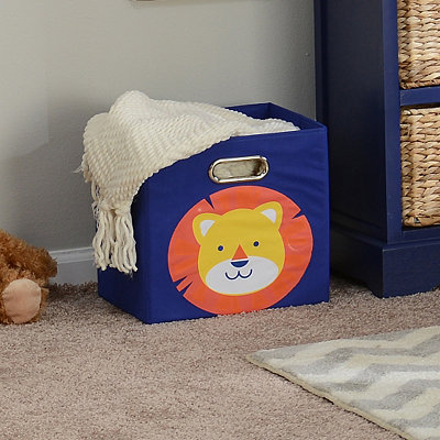 Blue Storage Bin with Lion