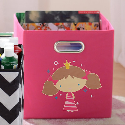 Hot Pink Storage Bin with Princess