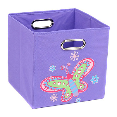 Purple Storage Bin with Butterfly