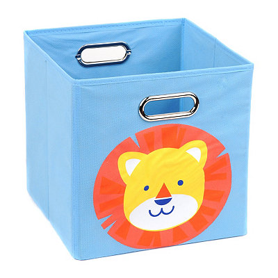 Light Blue Storage Bin with Lion