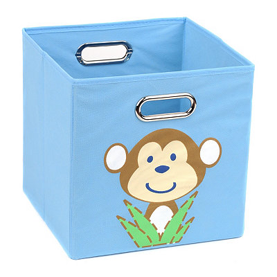 Light Blue Storage Bin with Monkey