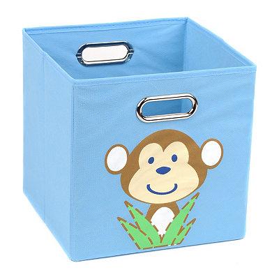 Light Blue Storage Bin with Monkey