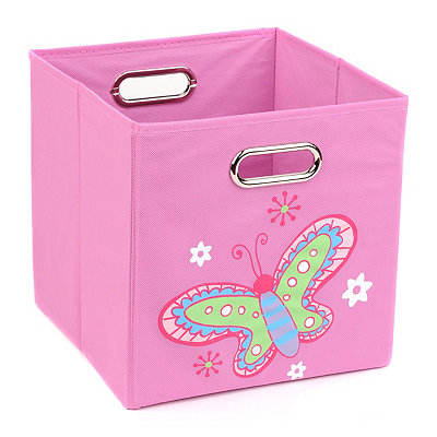 Pink Storage Bin with Butterfly