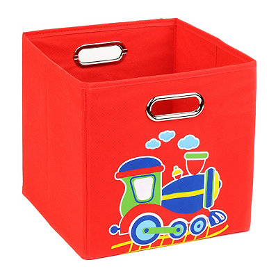 Red Storage Bin with Train