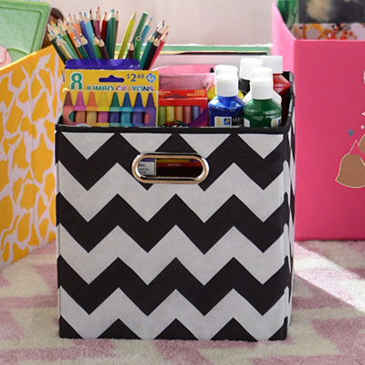 Black Chevron Storage Bin