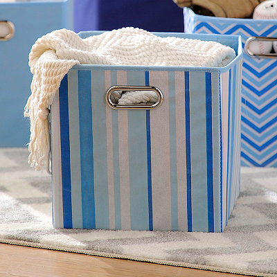 Blue Stripes Storage Bin