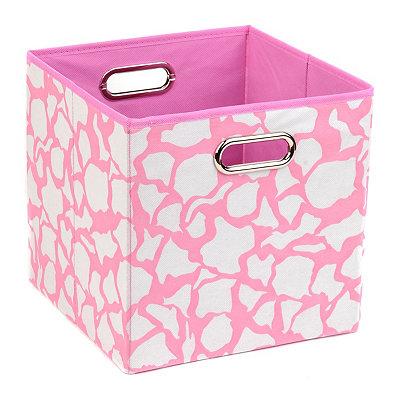 Pink Giraffe Print Storage Bin