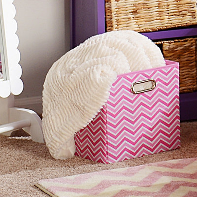 Pink Zig Zag Storage Bin