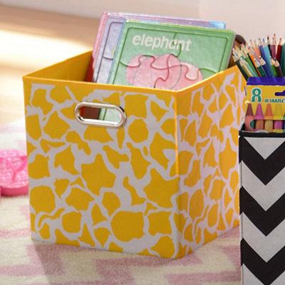Yellow Giraffe Print Storage Bin