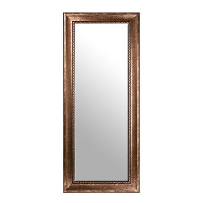 Antiqued Silver Beaded Framed Mirror, 33x79