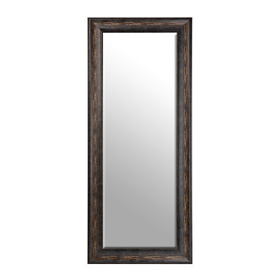 Distressed Black Framed Mirror, 33x79 in.