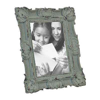 Ornate Vintage Aqua Picture Frame, 5x7