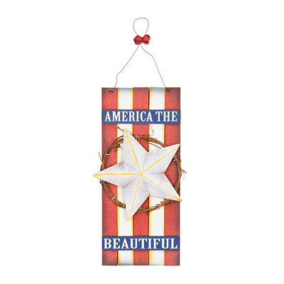 God Bless Our Home Patriotic Wall Plaque, White