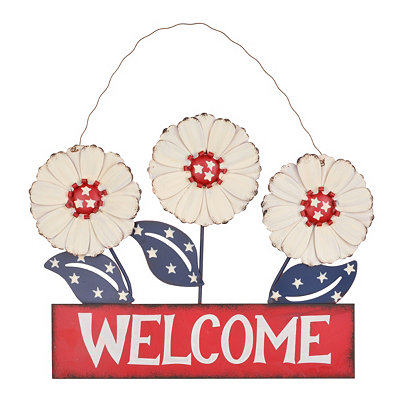Patriotic Welcome Plaque, White
